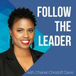 Chanel Christoff Davis stands smiling next to the Follow the Leader podcast logo